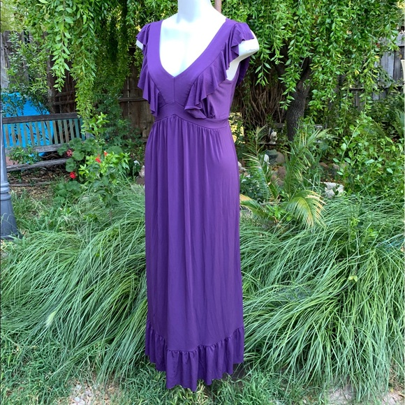 Isadora Collection Dresses & Skirts - ISADORA COLLECTION Purple Ruffle Maxi Dress Sz M